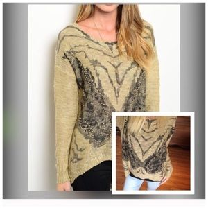Sweaters - EMBELLISHED TAUPE BUTTERFLY SWEATER